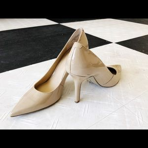 Nine West pointed toe pumps nude 3 inches